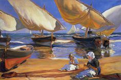 On the Beach at Valencia - Joaquin Sorolla y Bastida hand-painted oil painting reproduction,women repair fishing nets on beach landscape art Spanish Painters, Spanish Artists, Landscape Art, Landscape Paintings, Art Plage, Oil Painting Reproductions, Claude Monet, Beach Art, Oil Painting On Canvas