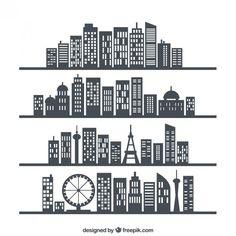 horizons de la ville Vecteur gratuit