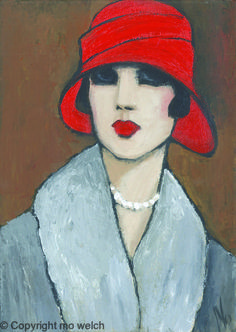 NEW DECO, mo welch painting,art deco, flapper, 20's fashion, 20's hats, 1920's fashion,