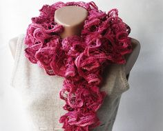 Ruffle fashion Pink burgundy knit scarf    by violasboutique, $25.00