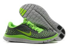 Mens Nike Free 3.0 V4 Dark Grey Electric Green Wolf Grey Shoes $ 53.99