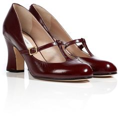 MARC JACOBS Leather T-Strap Mary-Janes in Burgundy found on Polyvore featuring polyvore, fashion, shoes, pumps, t strap mary jane pumps, t-strap mary janes, leather mary jane pumps, mid heel pumps and mary-janes