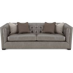 Hayden Tufted-Leather Sofa ($2,699) ❤ liked on Polyvore featuring home, furniture, sofas, grey, leather sofa, leather couch, handmade furniture, tufted sofa and leather furniture