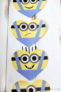 DIY Valentine's Day card for kids - Heart Minion Craft