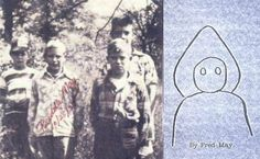 The Flatwoods Monster - Flatwoods, West Virginia, On the left, four of the Flatwoods boys who witnessed the 'monster.' Left to right: Tommy Hyer, Freddie May, Edison May (front), and Neil Nunley (rear). Eleven-year-old Freddie May drew a picture (right) of the Flatwoods Monster shortly after the incident.