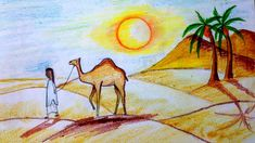 #scenerydrawing #arabiandesert #howtodraw Beautiful Scenery Drawing, Drawing School, Step By Step Drawing, Deserts, Make It Yourself, Drawings, Painting, Instagram, Art