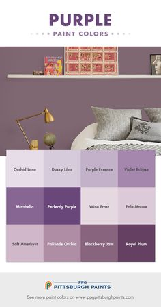 Purple is a majestic color – coming from royalty. It can be inspirational and create a pretty environment that nurtures a sense of balance and purpose. The use of this color facilitates meditation, balances thought, expresses mystery, invites surprise and promotes elegance. Purple paint colors are one the toughest colors to get right. For a grown up purple, choose one with a lot of gray in it to avoid it being too purple on the wall.