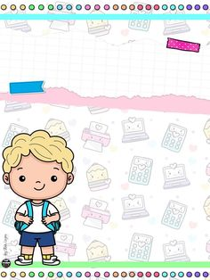 Cartoon Coloring Pages, Binder Covers, School Colors, Teacher Resources, Hello Kitty, Preschool, Doodles, Clip Art, Baby Shower