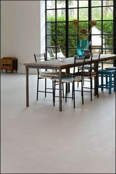 Marmoleum beton - collectie betonlook marmoleum vloeren bij Thuisin Beton Design, Concrete Design, New Living Room, Home And Living, Concrete Interiors, Basement Flooring, Outdoor Furniture Sets, Outdoor Decor, Interior Inspiration