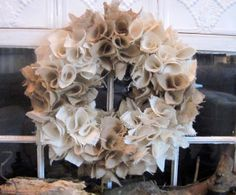 Down to Earth Style: Cute Burlap Wreaths.embellishing with shells, starfish for the beach house