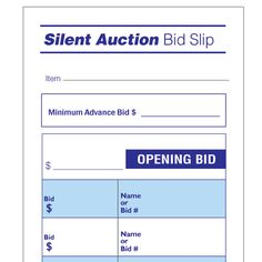 Silent Auction Bid Sheet  Doc  Mason Jars    Silent
