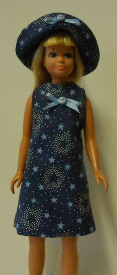 "Handmade Skipper Clothes,  Dress and Hat for 9"" Teen Fashion Dolls, Blue and White Stars on a Navy Background"