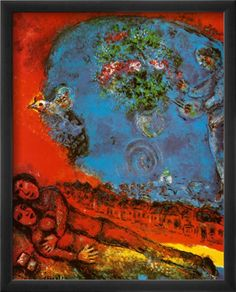 Marc Chagall「Lovers on a Red Background」