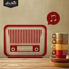 Retro Radio Wall Decal - Vintage Wall Decal - Wall Graphics - Vinyl Wall Sticker