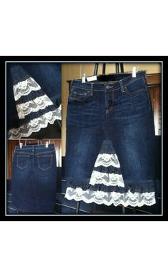 ASPYN Customized Denim Skirt with Lace Trim, can be made to your measurements and specifications at www.apostolicclothing.com!