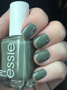 """Army green nail polish! Essie """"Sew Psyched"""" #essie #nails #Fall2015 #SewPsyched"""