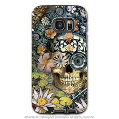 Floral Day of the Dead Sugar Skull - Artistic Galaxy EDGE TOUGH Case - Dual Layer Protection - Bali Botaniskull - Artwork by Christopher Beikmann, creator of Fusion Idol and Da Vinci Case. Sugar Skull Artwork, Sugar Skulls, Xl Models, Bali, Sugar Skull Design, Floral Skull, Gifts For An Artist, Galaxy Note 4 Case, Art Case