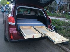 Sleeping platform with drawers Truck Bed Tent, Truck Bed Camping, Diy Camping, Outback Car, Outback Campers, Minivan Camper Conversion, Suv Camper, 2011 Subaru Outback, Vw Wagon