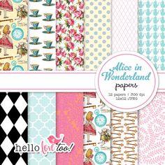 INSTANT DOWNLOAD Alice in Wonderland digital paper by hellolovetoo, $5.00