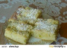 Hrnkový koláč s rebarborou recept - TopRecepty.cz Rhubarb Recipes, French Toast, Dairy, Cheese, Baking, Breakfast, Cake, Recipes For Rhubarb, Bread Making