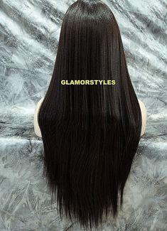 Long Straight Layered Bangs Off Black Synthetic Full Wig Hair Piece Heat OK #1B  #Bangs