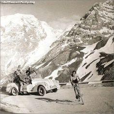 Fausto Coppi in the 1953 Giro d'Italia ascending the Stelvio.