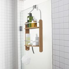 Umbra Barrel suihkusaippuateline Bamboo Bathroom, Shampoo Bottles, Shower Doors, Contemporary Decor, Shower Heads, Washing Clothes, Montage, Aluminium, Bathroom Accessories