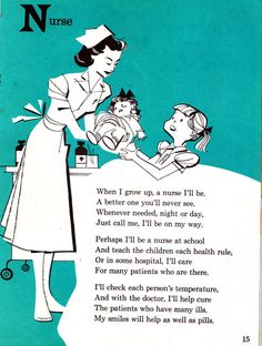 """When I grow up, a nurse I'll be! (1973) """"What will I be from A to Z"""" by Donald L. Gelb."""
