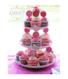 cupcakes kitty en rosas