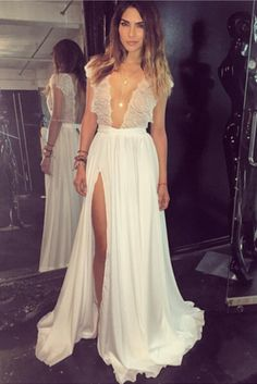 sexy v-neck side slit white long prom #prom #promdress #dress #eveningdress #evening #fashion #love #shopping #art #dress #women #mermaid #SEXY #SexyGirl #PromDresses