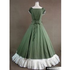 Fancy Green White Southern Belle Prom Ball Gown Dress Costumes SKU-121012