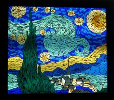 Stained glass on glass mosaic  Starry Night
