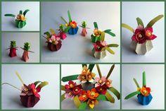 Mini vasos e a Pequena Origamista Mini Vasos, Paper Art, Paper Crafts, Paper Cutting, Paper Flowers, Cactus, Sculptures, Craft Ideas, Japan