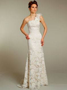 White Stretch Lace One Shoulder A-Line Silhouette Wedding Dress