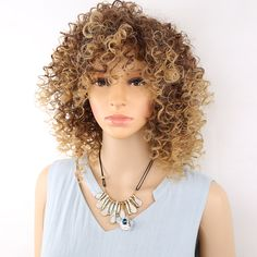 Buy Amir Short Blonde And WhiteAfro Kinky Curly Wig Synthetic Fluffy Wigs for American Black Women 100g. Click visit to read descriptions
