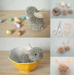 Stylish Easter decorating without the Kitsch, and for little money cheap easy easter decorations diy-pom-pom-bunny-easy-easter-party-craft- WRYKPRR Easy Easter Crafts, Easter Crafts For Kids, Easy Diy Crafts, Crafts For Teens, Projects For Kids, Decor Crafts, Egg Crafts, Bunny Crafts, Thanksgiving Crafts