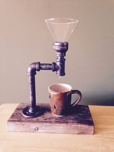 Pour Over Coffee Maker  Industrial Pipe by PipesandPlanks on Etsy