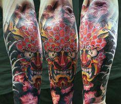 09a7b8c7f Hannya Mask Tatto With Leering Mouth Guys Forearm Sleeve Tattoo Ideas  #popularsleevetattos