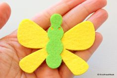 Yellow And Green Butterfly Felt Applique Patch by KnicKnackNook