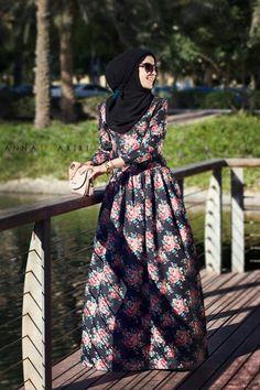 Anna Hariri flower dress for hijab style