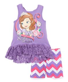 Love this Sofia the First Lace-Ruffle Tank  & Shorts - Toddler & Girls by Sofia the First on #zulily! #zulilyfinds