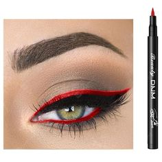 Buy DNM Waterproof Quick-drying Liquid Eyeliner Pen sale ends soon. Be inspired: enjoy affordable quality shopping at Gearbest! Red Eyeliner, Simple Eyeliner, Perfect Eyeliner, Eyeliner Looks, How To Apply Eyeliner, Perfect Eyes, Navy Eyeshadow, Sparkly Eyeshadow, Shimmer Eyeshadow