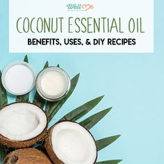 """Is Coconut Oil An Essential Oil? Coconut oil comes in many forms, each with similar but unique benefits. On the market today, you might even see some bottles labeled """"coconut essential oil"""". But is coconut oil an essential oil? Well, not literally. You see, coconut oil is a carrier oil, not a potent essential oil. It can be used undiluted on your hair and skin. That's why you should always dilute essential oils with coconut oil to use them safely on your body. Coconut Essential Oil, Myrrh Essential Oil, Essential Oils Guide, Diluting Essential Oils, Coconut Benefits, Coconut Oil Hair Mask, Carrot Seed Oil, Geranium Oil, Fractionated Coconut Oil"""