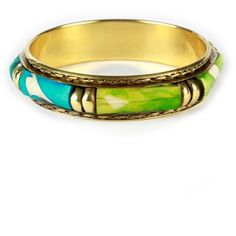 Blue & Green Panel Gold Chunky Tribal Bangle - ChiaraFashion ($10) ❤ liked on Polyvore