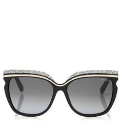 465ecbd92f3 Crystal Adorned Black Framed Sunglasses