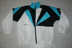 VINTAGE REEBOK APPAREL TRACKSUIT TOP JACKET SHINE NYLON WHITE BLACK IBIZA XL