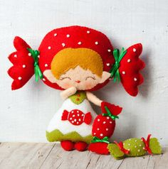 PDF. Candy elf girl. Plush Doll Pattern, Softie Pattern, Soft felt Toy Pattern.