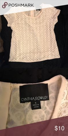 Ivory Lace Top Cynthia Rowley ivory Lace top. Small zipper in the back. Size small. Self: 60% cotton and 40% nylon. Lining: 100% Polyester Cynthia Rowley Tops Crop Tops