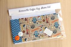 DIY Coffee Cup Sleeve Sewing Kit - Rockets Robots and Chevrons - Ready to Ship by CraftyStaci