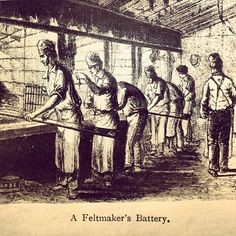 A Feltmakers Battery - This was the first process of the felting once the hat body had been carded. This process dates back to the 18th century.